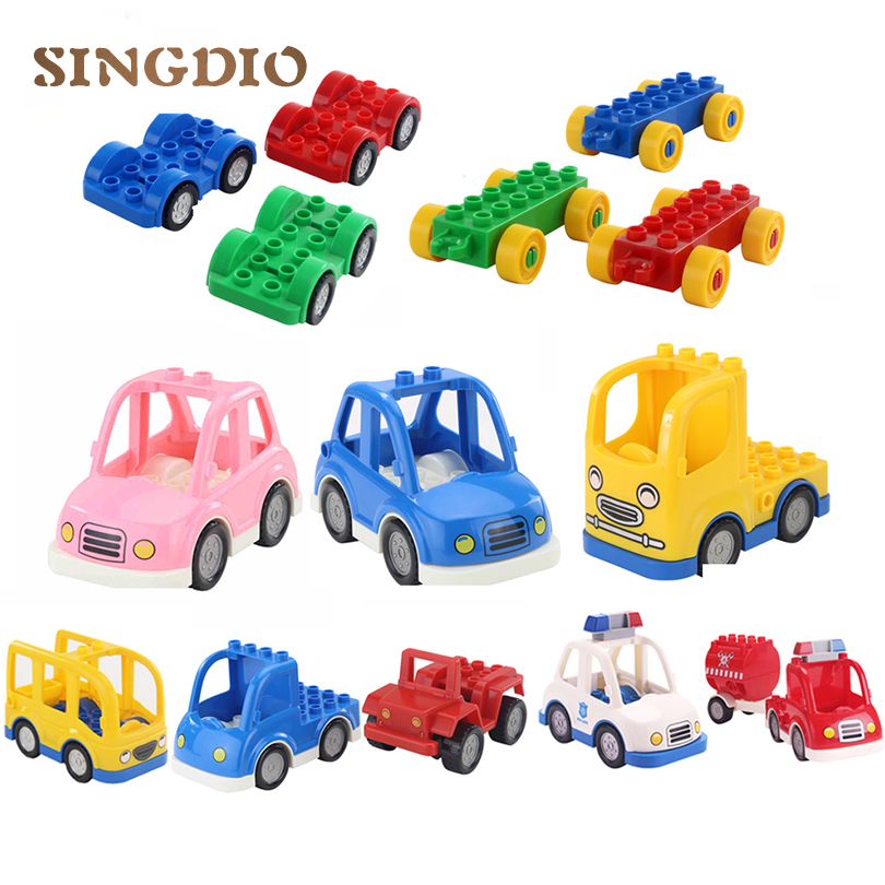 SINGDIOCity Series Transport Building Blocks Police Car Truck Self-locking Bricks baby educational Toys compatible with duplo купить