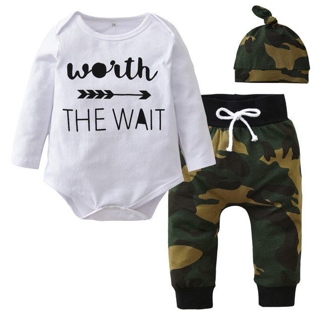 c1284f83961c9 Cute Baby Boy Clothing Sets Autumn Newborn Baby Girl Clothes Long Sleeve  Letter Bodysuit+Camouflage Pants+Hat Toddler Outfits