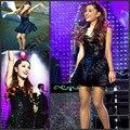 Lentejuelas Negro Corto Vestidos de Baile 2017 Sparkly Ariana grande Sweetheart Fuera Del Hombro Robe De Soirée Sexy Party Girls
