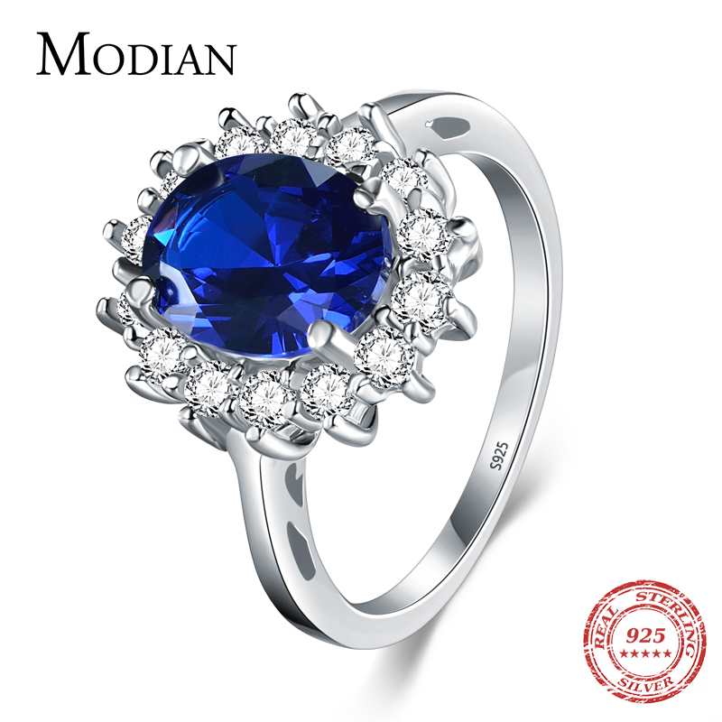2.0Ct moda Real sólido de Plata de Ley 925 anillo de plata de las mujeres de la moda regalo 5A de marca de joyería de boda anillos de plata