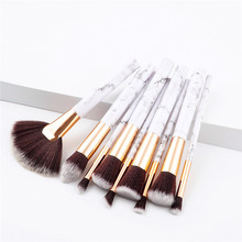 1Set Makeup Brushes set Marbel Style High Quality Plastic Handle Synthetic Hair Microbrush Facial Use Brushes kit T09002
