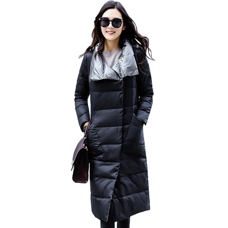 Ailegogo Women Ultra Light White Duck Down Jacket Winter Double Sided Slim Down Coat Single Breasted Parkas Female Outerwear