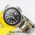 Механические Мужские часы с Авто Дата, сапфировое стекло Матовый ободок умственный ремень GMT ручной 40 мм наручные часы