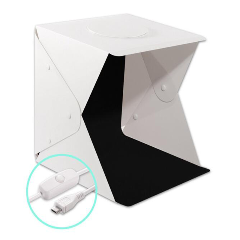 40cm Mini Folding Photography Stutio LED Light Softbox Portable Desktop Soft box Switch USB Cable 4 color Background Accessories