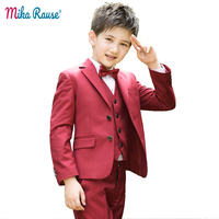 Fashion Kids Red suits boys wedding blazer boy clothing teenager school party uniform costume suit for boys formal clothes sets