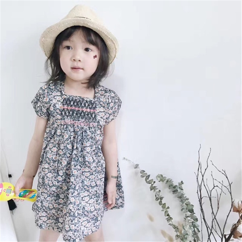 Baby Girl Flower Dress Summer Tiny Cotton Boutique Toddler Girls Dresses 2-7Years Baby Flower Girl Dress Kids Summer Clothing fashion kids baby girl dress clothes grey sweater top with dresses costume cotton children clothing girls set 2 pcs 2 7 years