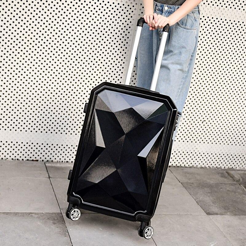 LeTrend Color rayas patrón de equipaje rodante 24 pulgadas maleta ruedas 20 pulgadas mujeres llevar en carro bolsa de viaje maletero - 4