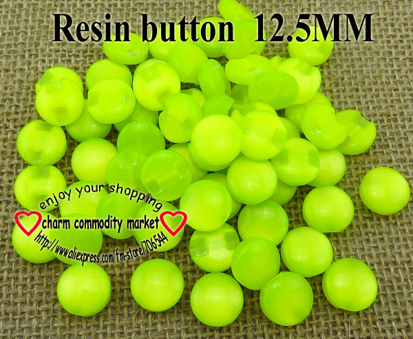 100PCS bright yellow Transparent RESIN buttons 12.5MM coat boots sewing clothes accessor ...