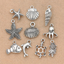10pcs Mix Tibetan Silver Plated Ocean Hippocampus Turtle Shells Fish Charms Pendants Jewelry Making Diy Accessories Handmade(China)