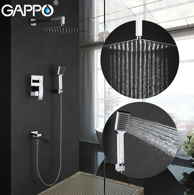 GAPPO Shower Faucets shower mixer tap bathroom faucet mixer Bath tub taps wall mounted robinet baignoire thermostatic triple shower panel handles bathroom faucet wall mounted shower faucets with tub filler mixer tap