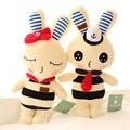 Figuras de acción al por mayor de conejo muñeca de Tela de Peluche de felpa regalo de Navidad chica 38 cm Encantadora pareja navy conejo de peluche de juguete