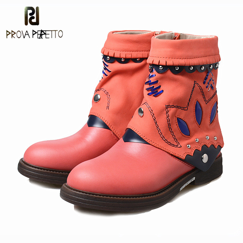 Prova perfetto New Arrival Winter Hand-made Woman Ankle Boots with Rivet Mixed Colors Comfort Low Heels All-match Chelsea BootsProva perfetto New Arrival Winter Hand-made Woman Ankle Boots with Rivet Mixed Colors Comfort Low Heels All-match Chelsea Boots