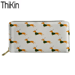 Thikin Cute Doxie Dachshund Printing Wallets for Women Clutch Card Phone Holders Ladies Long PU Leather Money Bag Large Capacity(China)