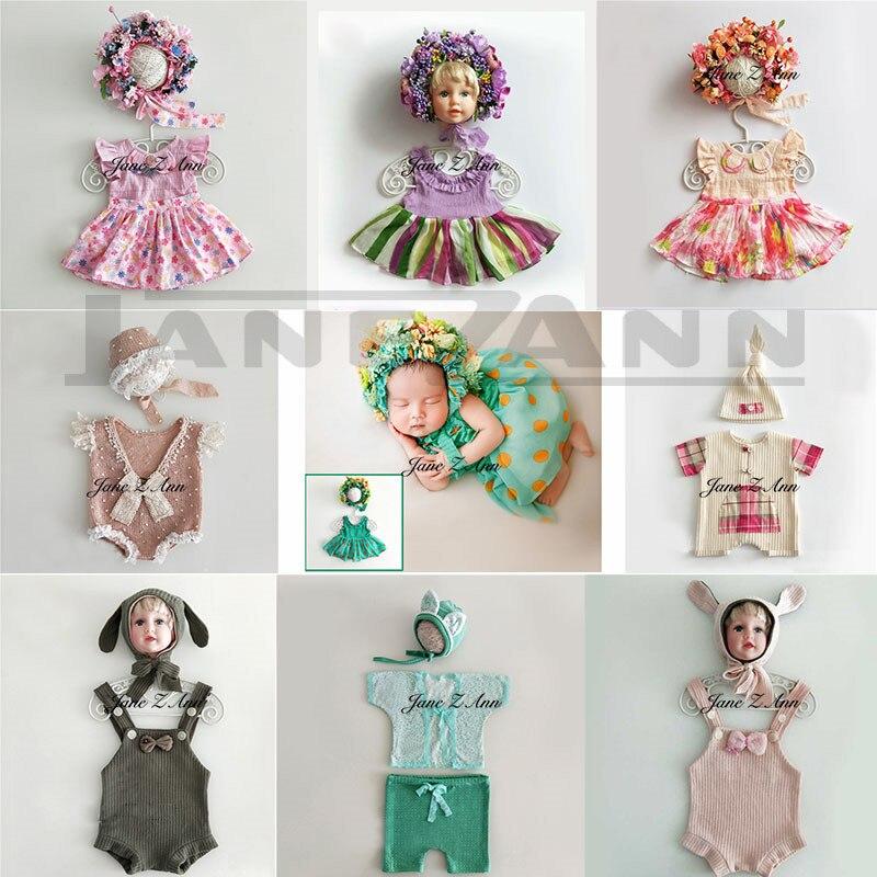 Jane Z Ann Nouveau-Né bébé accessoires photo infantile studio photo tir tenues fleur chapeau + robe creative image idées accessoreis