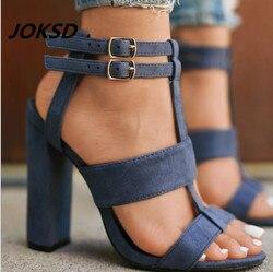 JOKSD 2018 nouveau Sexy daim femmes sandales minces talons hauts 9 CM gladiateur Bandage croix liée mode été fête Femme chaussures L37