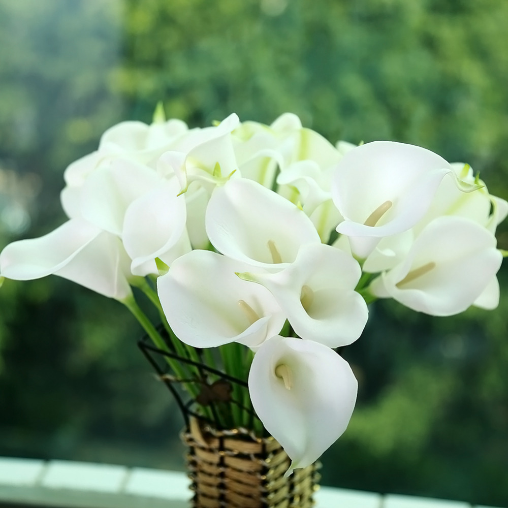 10pcs Mini Size Pu Calla Lily Real Touch Flower Artificial