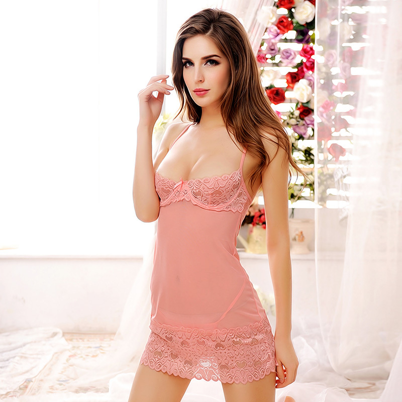 Summer Femal Short Sexy Lace Nightdress Sleeveless Nightgown Strap Strip Steel Bracket Bra Nightgowns Women Chemise De Nuit Sexy in Sexy Costumes from Novelty Special Use