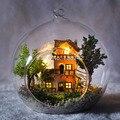 G016 своими руками кукла дом miniatura стекло мяч дерево миниатюрное кукольный домик ручной работы с фары