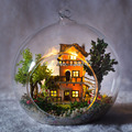G016 Diy Doll House miniatura Glass Ball Wooden Miniature Dollhouse Handmade with lights free shipping
