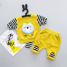 2018 new Pullover Cartoon Striped Baby Boys and girls Clothes cotton Baby's Sets CN2765-2773