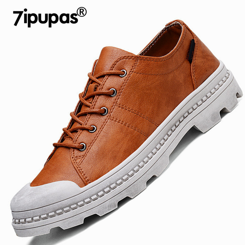 7ipupas Street style 219 Vintage casual shoes men British microfiber sneakers for men fashion mid heel men