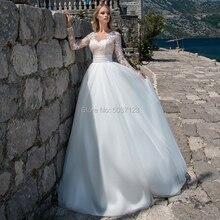 Tulle A Line Wedding Dresses O Neck Long Sleeves Button Lace Appliques Vestido De Novias 2021 Floor Length Bridal Gown for Bride