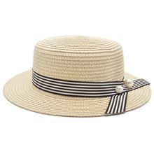 c4250a778e2 2017 New Caps Tape Round Flat Beach woman straw visor hat Panama sun cap  Snapback Hats hat for women the summer chapeau femme