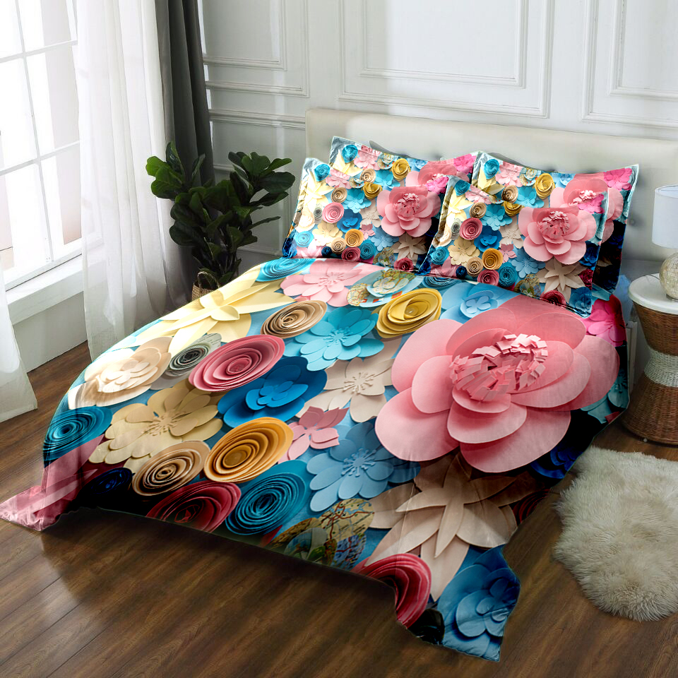 hot sale fashion flowers 3D printed polyester bedding set queen king size duvet cover set bed