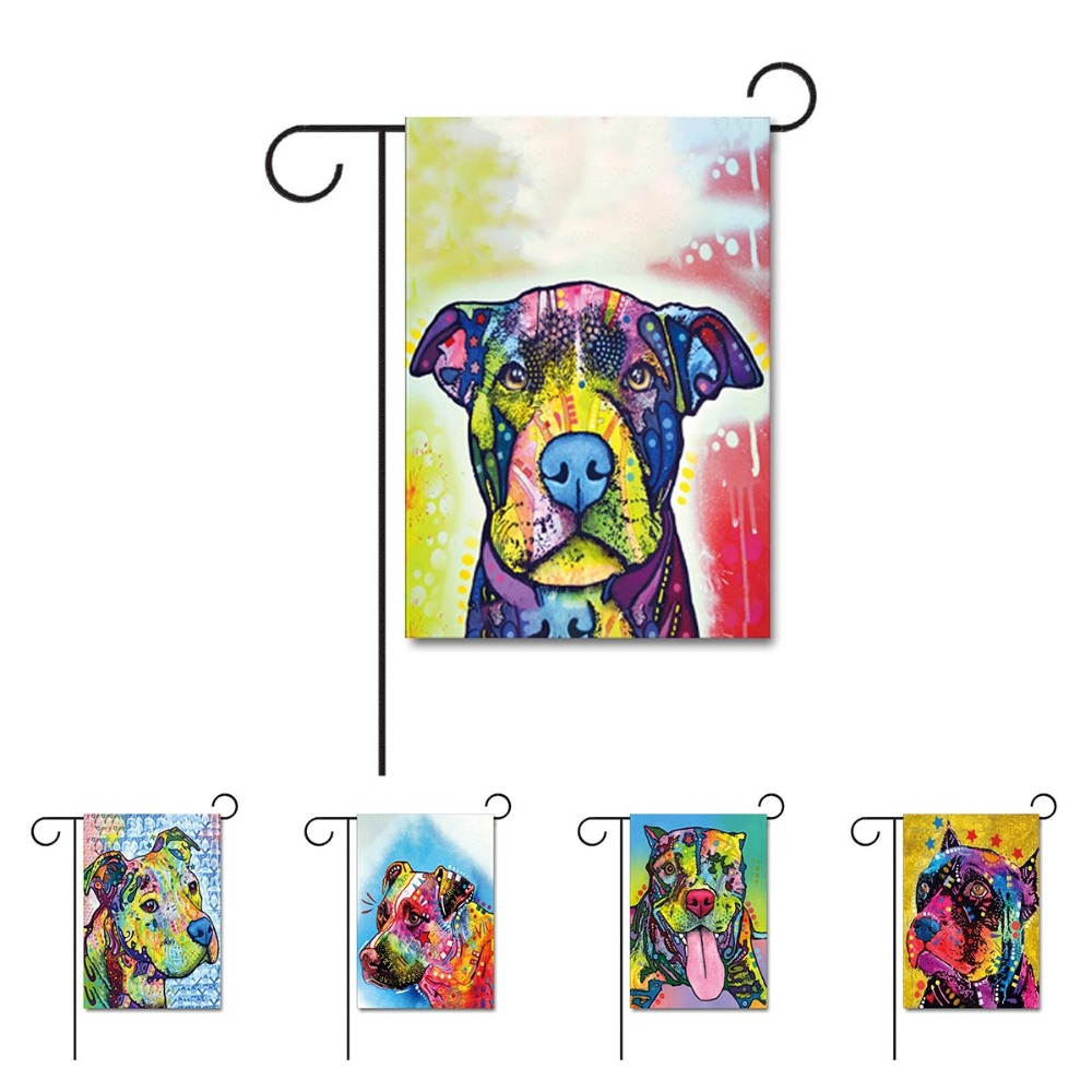Fashion Dog Home Decorative Mini Garden Flag Design With Pitbull Animal  Large House Flag 100%