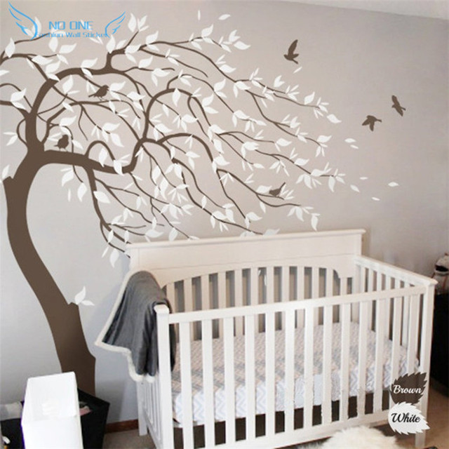 Huge White Tree Wall Sticker - Nursery Tree Wall Decals - Baby Nursery Bedroom Wall Art & Huge White Tree Wall Sticker Nursery Tree Wall Decals Baby Nursery ...