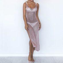 4f02c1e634 BONJEAN 2017 Sexy Shiny Dzianiny hollow Bikini Cover Up Letnia Sukienka  Spódnica strój Kostium Kąpielowy Kostiumy