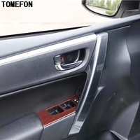 TOMEFON Carbon Fiber Style Front Rear Inner Door Side Armrest Handle Cover Overlay Trim Sticker For Toyota Corolla 2014 to 2018