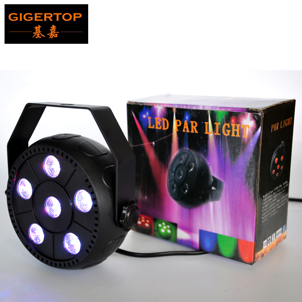 TIPTOP TP-P12 6X1W RGB 3IN1 Slim Stage Led Par Cans Build In Power Cable US/EU Power Plug Multi Color Mixing No Cooling Fan