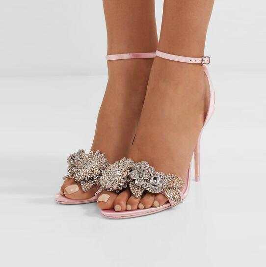 9b809486da US $67.2 40% OFF Qianruiti 2018 Bridal Wedding Silk Sandals Flower Crystal  High Heels Ankle Strap Open Toe Stilettos Diamonds Dress Sandals Women-in  ...