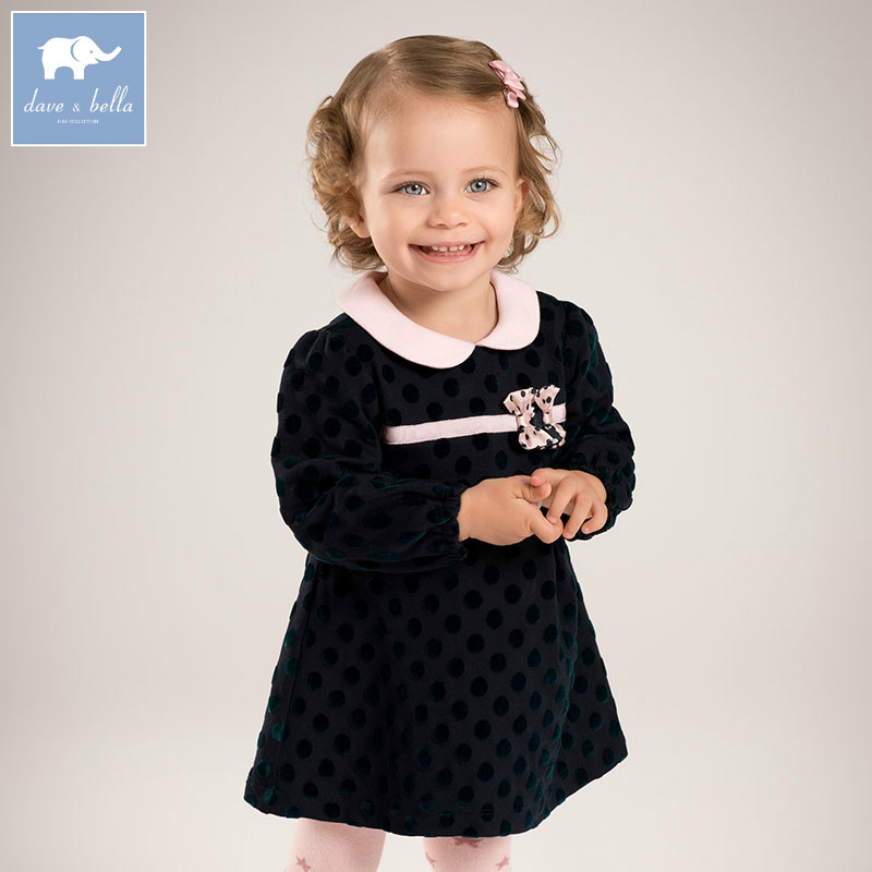 DB6008 dave bella infant baby girl's princess dress kids fashion wedding party birthday dots dress children toddle clothes db1553 dave bella summer baby dress infant clothes girls party dress fairy dress toddle 1 pc kid princess dress