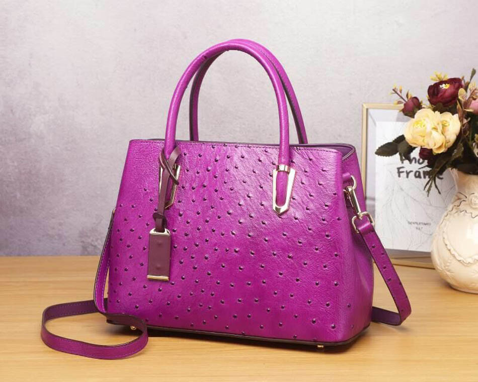 Cowhide Women Genuine Leather Bags Embossed Ostrich Pattern Luxury Big Capacity Women Leather Tote Bag