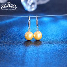 Rinntin 100% Real 925 Sterling Silver Women Earrings Round Svart Vit Gul 9mm-20mm Pearl Drop Earring Party Smycken PSE22