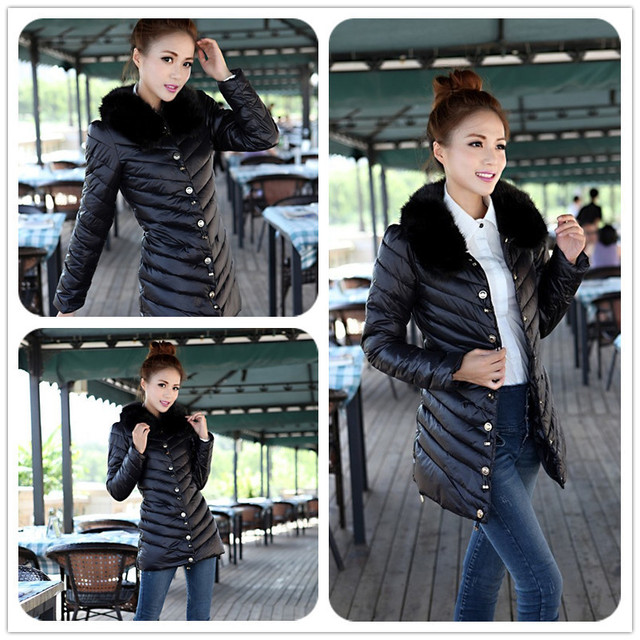 New 2014 high quality warm fur collar womens winter jacket fur solid coats jackets fashion long slim wadded thick parka female