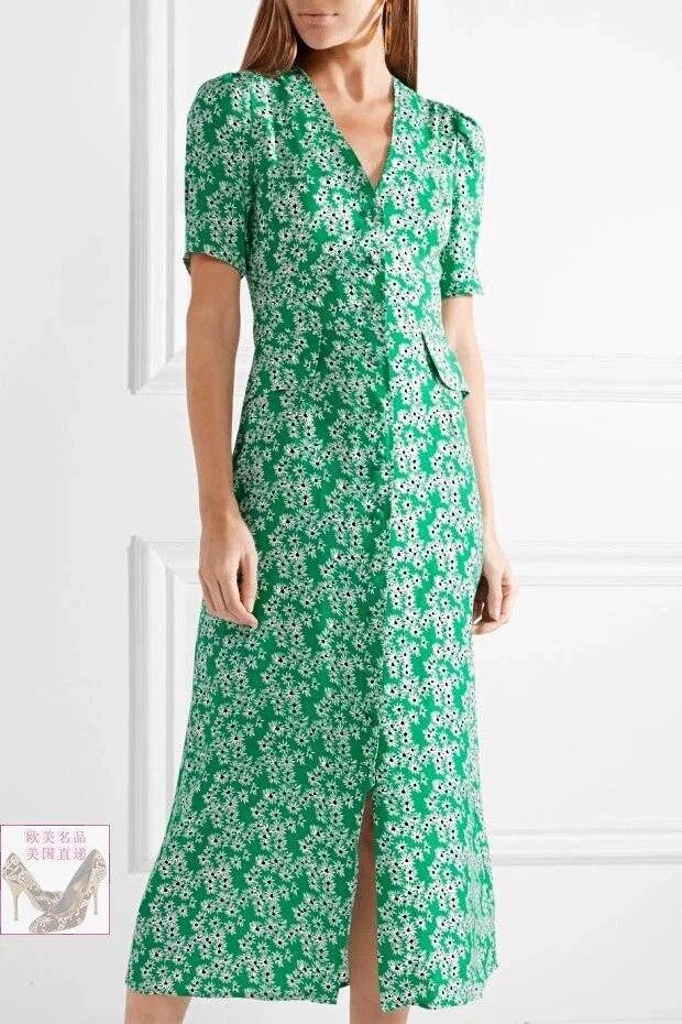 Women Dress 2019 Early Autumn New Green Daisy Print Midi Dress