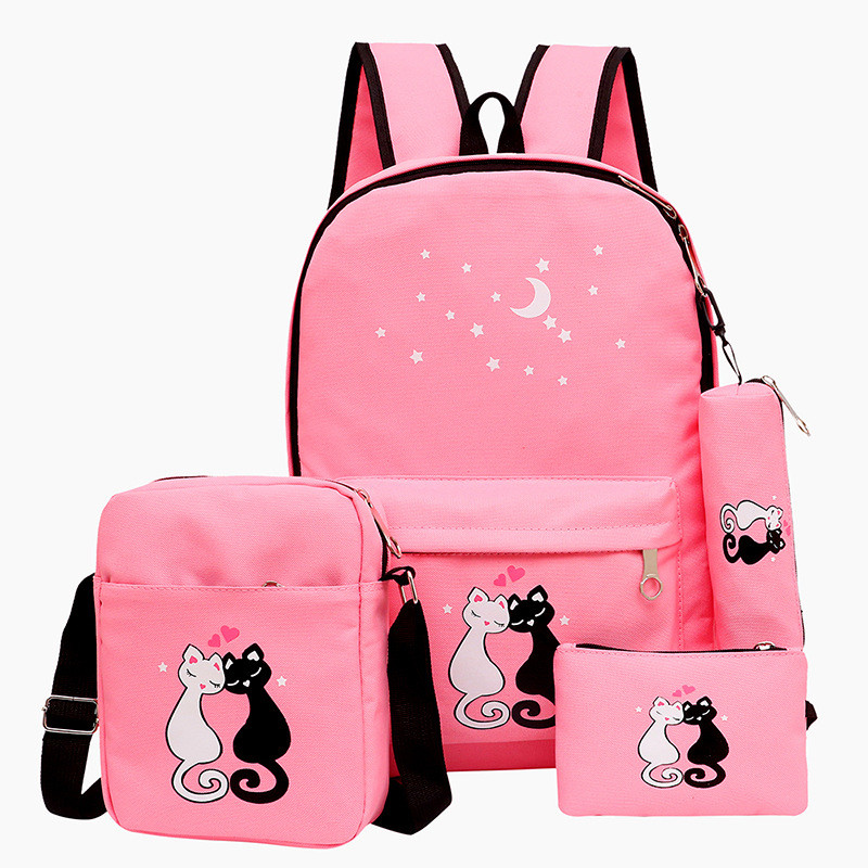 4pcs/set Women Backpack Cat Printing Canvas School Bags For Teenager Girls Preppy Style Rucksack Cute Book Bag Mochila Feminina