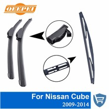 QEEPEI Front And Rear Wiper Blade No Arm For Nissan Cube 2009-2014 High Quality Natural Rubber Windshield 20 '' + 20 ''