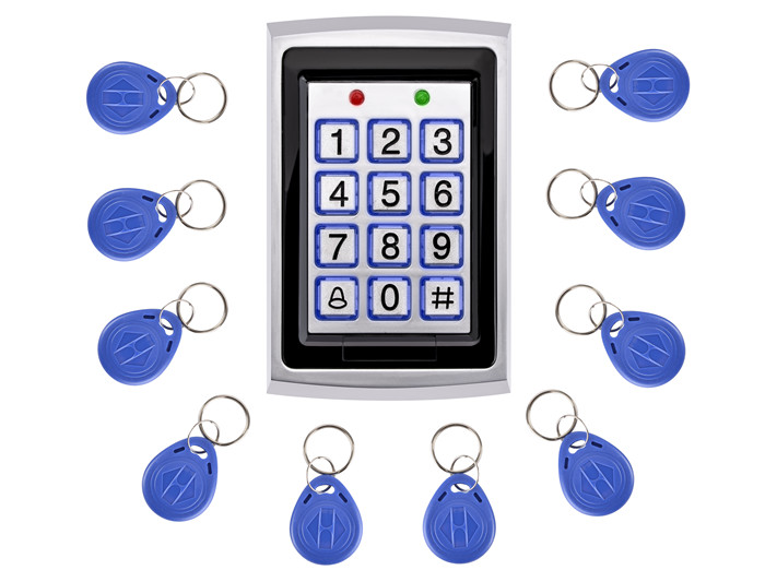10 Pz Carta di Trasporto + Metallo Scheda RFID di Prossimità Entrata Con Porta Sistema di Controllo di Accesso Porta Singola Serratura Impermeabile Tastiera
