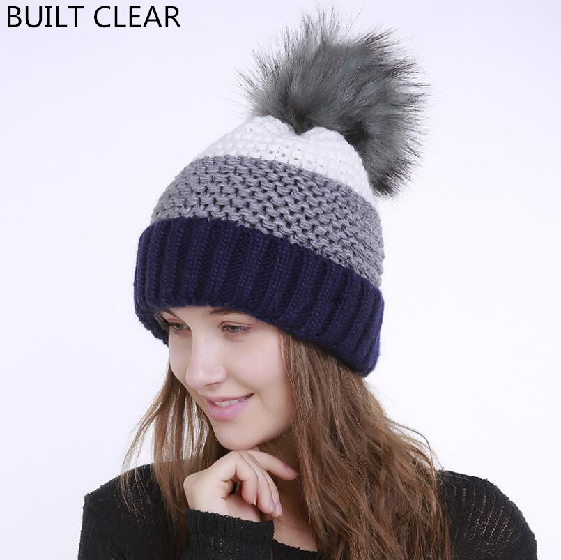 Wool cap 2017 autumn and winter new thick plus velvet knitted hat imitation rabbit fur ball curls woolen woolen hat wholesale the new children s cubs hat qiu dong with cartoon animals knitting wool cap and pile