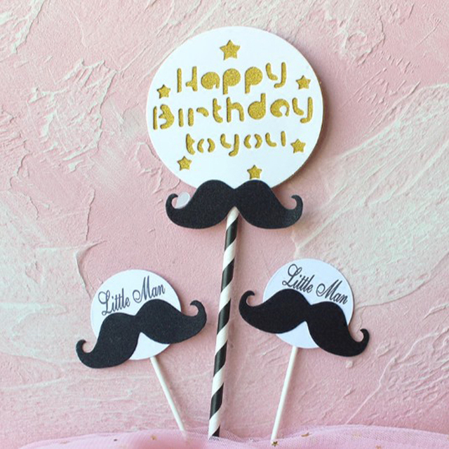 1 Pack Cute Black White Boy Little Man Mustache Happy Birthday Cake Topper For Party Decoration
