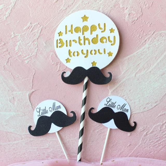 1 Pack Cute Black White Boy Little Man Mustache Happy Birthday Cake