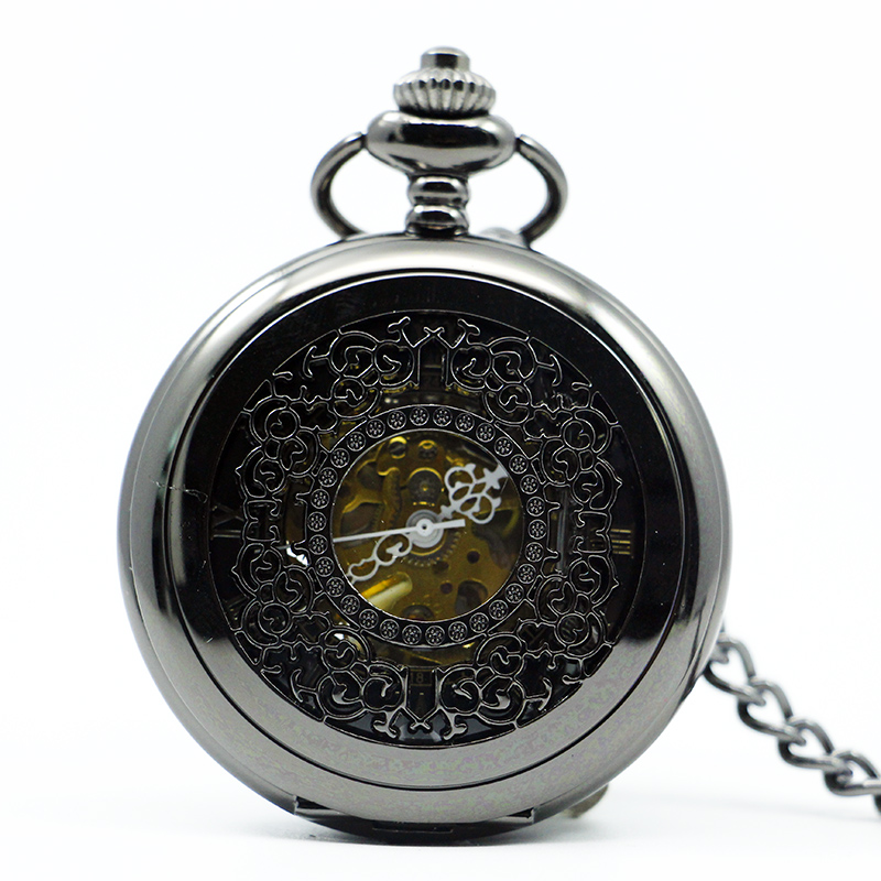 Luxury Vintage Antique Silver Skeleton Mechanical Pocket Watch Men Fob Chain Casual Unisex Pocket & Fob Watches PJX1213