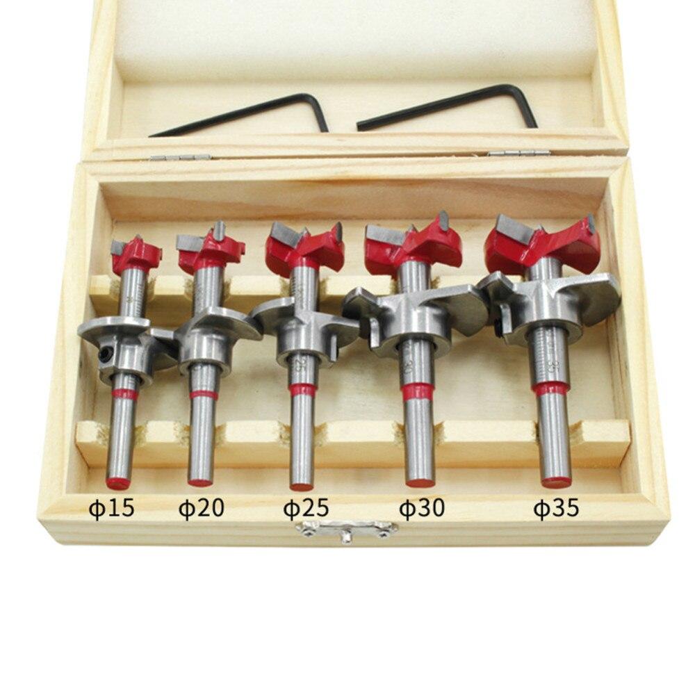 5 pçs forstner auger broca conjunto diâmetro 15 20 25 30 35mm cortador de madeira hex chave carpintaria buraco viu para ferramentas elétricas caixa de madeira