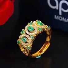 Женское кольцо из серебра 925 пробы с изумрудами j030601agml