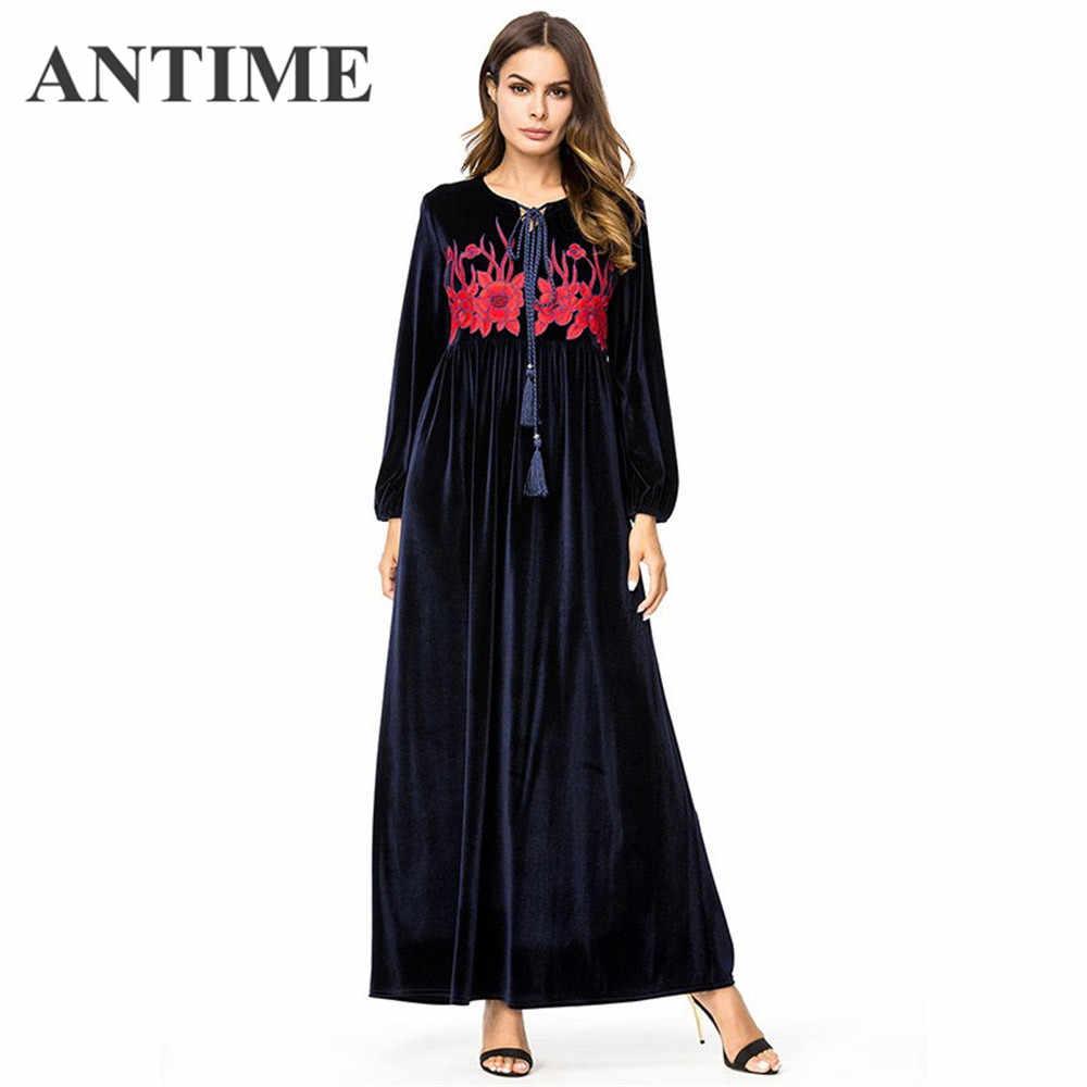 c634c4d4d51 ANTIME Платья повседневные бархатное длинное платье шикарная Цветочная вышивка  женское платье осень высокая талия качели пояса