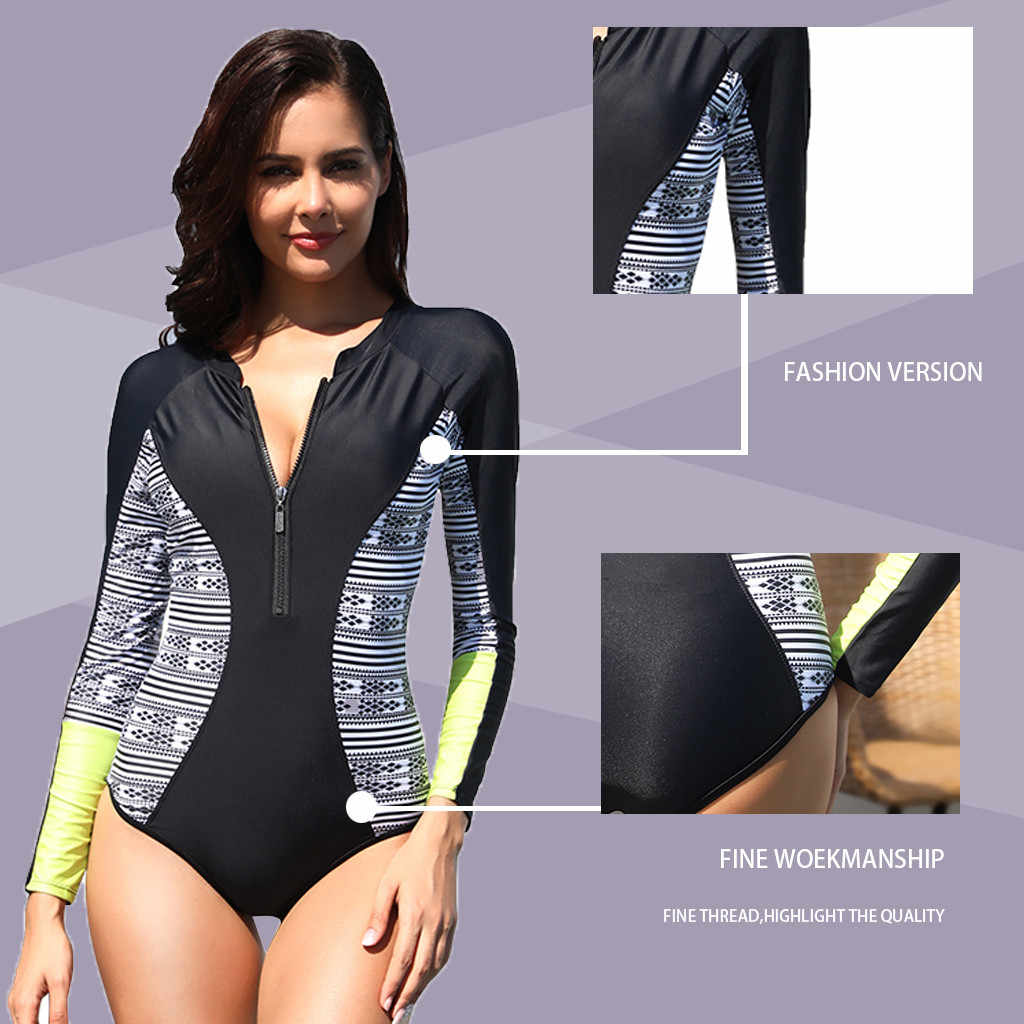 CHAMSGEND الساخن المرأة تصفح الملابس بلون مثير طويلة الأكمام واقية من الشمس موضة عطلة الشاطئ بحر قطعة واحدة ملابس السباحة